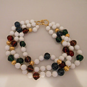 Vintage Chunky White Glass Mixed With Gem Coloured Beads Necklace
