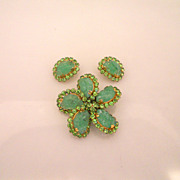 Vintage Amazing Schreiner Green Rock Rhinestones Brooch With Earrings