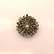 Vintage French Round Domed Large Glass Fringe Brooch/Clip