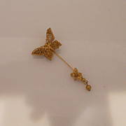Vintage Wonderful Miriam Haskell Gilt Butterfly Stick Pin