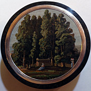Green hardstone snuff box with micromosaic of a landscape