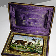 Micromosaic plaque of a Pointer dog in a marsh