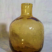 Amber Crackle Vase/Bottle in Excellent Condition