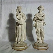 Pair of Borghese Chalkware Figurines, Female and Male