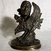 SALE Bronze Indian and Eagle Sculpture in Excellent Condition