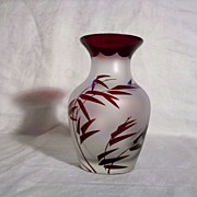 SALE Carved Cameo Vase, Ruby with Bamboo Theme