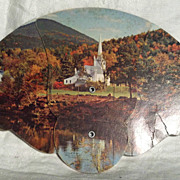 Cardboard Advertising Fan with Country Church, 1948