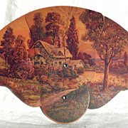 SALE Cardboard Hand Fan with Country Cottage Scene in Excellent Cond