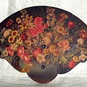 SOLD Cardboard Advertising Fan with Floral Theme