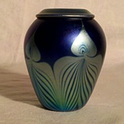 SALE Carl Radke Pulled Feather 4 inch Vase 1984