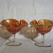 Carnival Glass Sherbet Glasses (Pair)