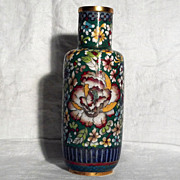 "SALE Cloisonne 8 1/14"" Floral Vase in Perfect Condition"
