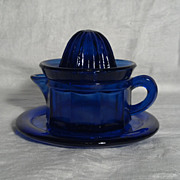 Cobalt Blue Glass Citrus Reamer with Underplate