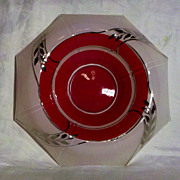 Rolled Console Bowl Frosted White with Red and Platinum