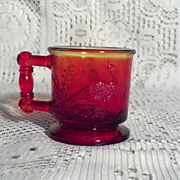Degenhart Stork & Peacock Red Child's Mug in Perfect Condition