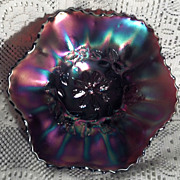 Dugan Glass Cosmos Variant Carnival Glass Bowl in Perfect Condition