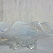 Northwood Glass White Opalescent Klondyke 3 Footed Bowl