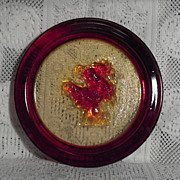 Elme Glasbruk Decorative Amberina Horse Plate