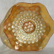 "Fenton Coin Dot Variant 7"" Bowl in Marigold Excellent Condition"