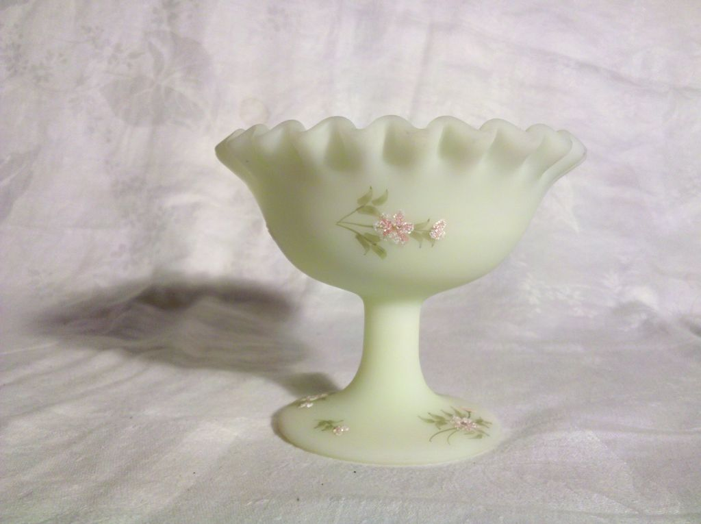 Fenton Footed Bowl Handpainted by Montgomery