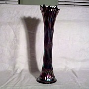 SALE Fenton Glass 15 inch Ribbed Carnival Glass Vase in Excellent Condition