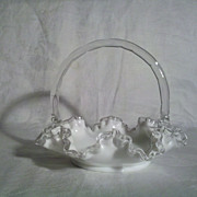 Fenton Silver Crest Basket 7 inches Tall in Perfect Condition