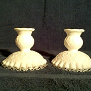 Fenton Silver Crest Spanish Lace Candle Holders (Pair) in Perfect Condition