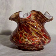 Fenton Vasa Murrhina 4 inch Vase in Autumn Orange