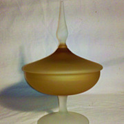 SALE Vintage Frosted Elegant Glass Covered Candy Dish