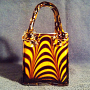 Cased Glass Purse Vase with Tiger Stripes