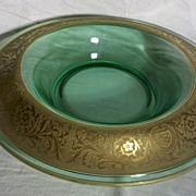 Elegant Glass Console Bowl with Gold Overlay