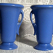 "Haeger Pottery 6""  Blue Vases (Pair) in Excellent Condition"