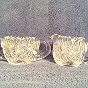 SALE Hawkes Sugar & Creamer in a Star & Fan Pattern