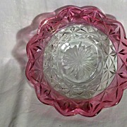 Heisey Elegant Glass 7 Inch Bowl with Cranberry Flash