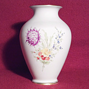 Hochst White Porcelain Vase with Floral Theme