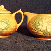 SALE Hull Pottery Water Lily Apricot Creamer and Sugar