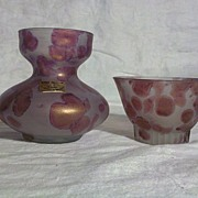 Ilanit Handpainted Vase and Matching Bowl, Jerusalem
