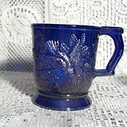 Imperial Glass Blue Carnival Glass Robin Mug in Perfect Condition