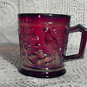 Imperial Glass Red Carnival Glass 1967 Robin Mug in Perfect Condition