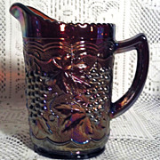 Imperial Glass Vintage Grape Amethyst Carnival Glass Pitcher