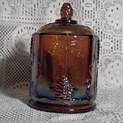 "Indiana Glass Gold Carnival Harvest 5"" Candy Jar"