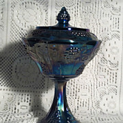 Indiana Glass Harvest Blue Carnival Wedding Bowl with Lid