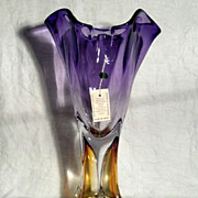 "SALE Adam Jablonski 14"" Amber and Violet Vase"