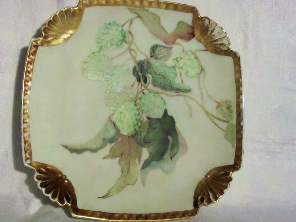 Limoges Handpainted Plate Hopvine Motif