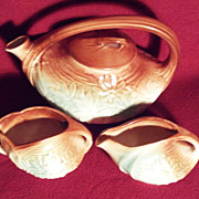 McCoy Daisy Teapot, Creamer and Sugar