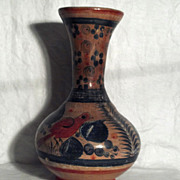 Vintage Mexican Vase with Bird Motif