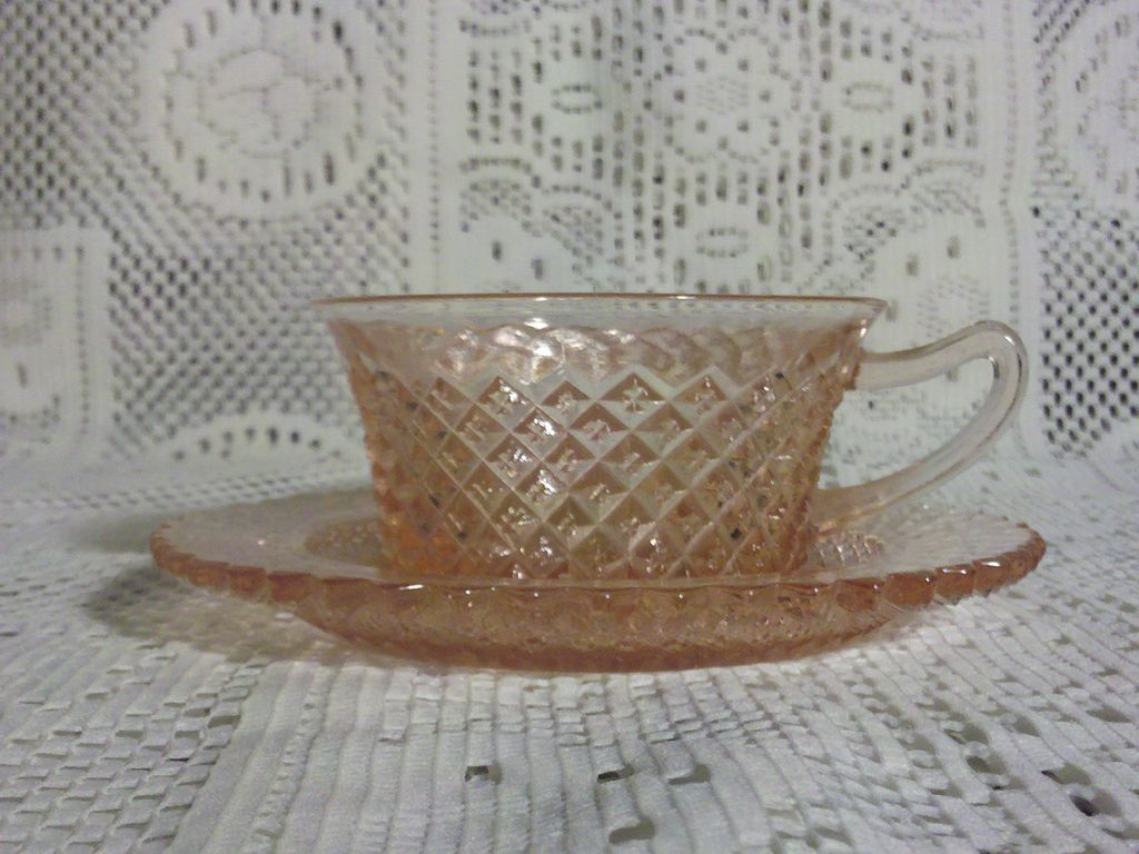 Anchor Hocking Miss America Cup & Saucer