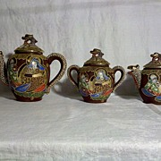 Moriage Dragonware Teapot, Sugar and Creamer