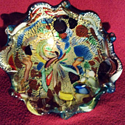 Murano Art Glass Bowl with Canes and Gold Inclusions