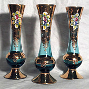 SOLD 3 Murano Bud Vases, Blue Glass with Gold and Flowers